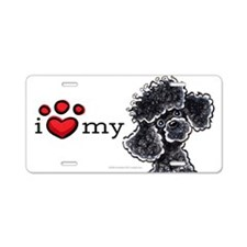 Love My Black Poodle Aluminum License Plate