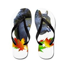 FALL SQUIRREL Flip Flops