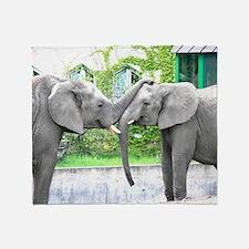 Love Kiss and hug elephants lovers Throw Blanket