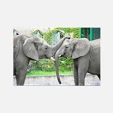Love Kiss and hug elephants lover Rectangle Magnet