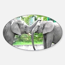 Love Kiss and hug elephants lovers Sticker (Oval)