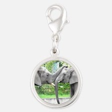 Love Kiss and hug elephants lo Silver Round Charm