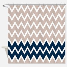 Navy Tan Shower Curtains