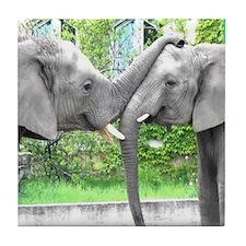 Love Kiss and hug elephants lovers -  Tile Coaster