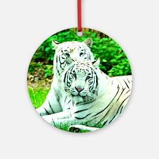 Love peace and joy White tigers stu Round Ornament