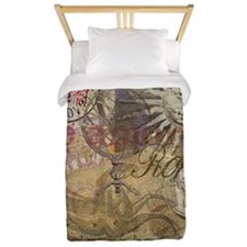 Rome Vintage Italy Travel Collage Twin Duvet