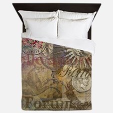 Rome Vintage Italy Travel Collage Queen Duvet
