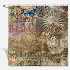 Rome Vintage Italy Travel Collage Shower Curtain