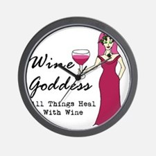 Wine Goddess - All Things Heal With Win Wall Clock