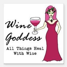 """Wine Goddess - All Thing Square Car Magnet 3"""" x 3"""""""