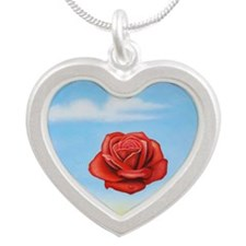 Meditative Rose Silver Heart Necklace
