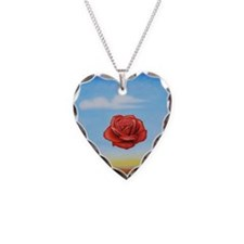 Meditative Rose Necklace Heart Charm