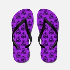 Damask Pattern Purple and Black Flip Flops