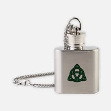 Green Celtic knot Flask Necklace