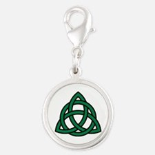 Green Celtic knot Silver Round Charm