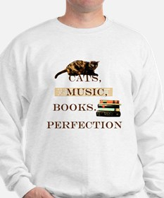 Cats, books and music Sweatshirt