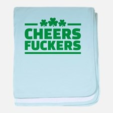Cheers fuckers shamrocks baby blanket
