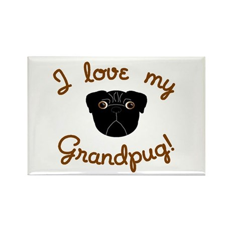 I love my Grandpug (Black) Rectangle Magnet