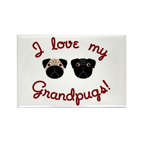 I love my Grandpugs Rectangle Magnet