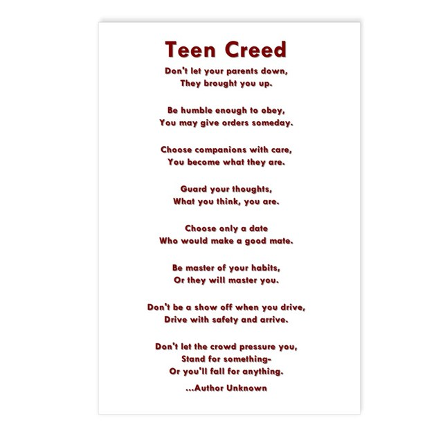 teen creed plaque
