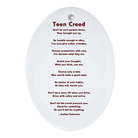 Teen Creed Oval Ornament