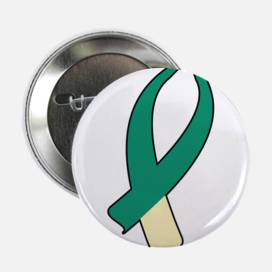 "Awareness Ribbon (Teal & Cream) 2.25"" Button (10 p"
