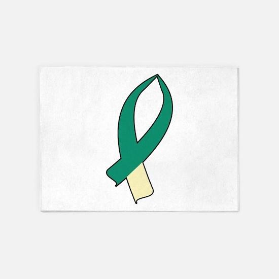 Awareness Ribbon (Teal & Cream) 5'x7'Area Rug