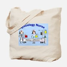 Oncology Nurse making a diff BLUE Tote Bag