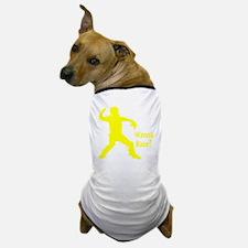 yellow Wanna Race on black Dog T-Shirt