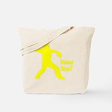yellow Wanna Race on black Tote Bag