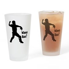 black Wanna Race on black Drinking Glass