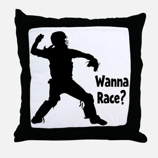 black Wanna Race on black Throw Pillow