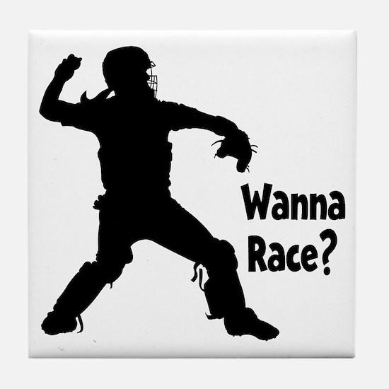 black Wanna Race on black Tile Coaster