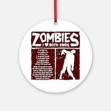 I Heart Zombies Round Ornament