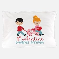 1st Valentines Day Together Pillow Case