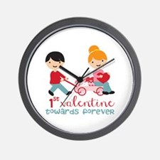 1st Valentines Day Together Wall Clock