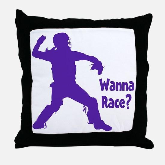 purple Wanna Race Throw Pillow