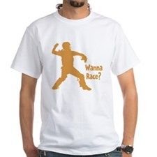gold Wanna Race on black Shirt