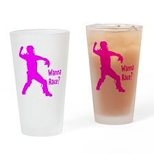 pink Wanna Race Drinking Glass