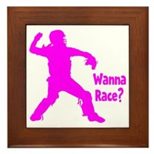 pink Wanna Race Framed Tile