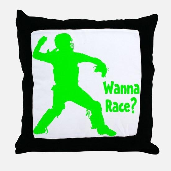 green2 Wanna Race on black Throw Pillow
