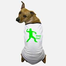 green2 Wanna Race on black Dog T-Shirt