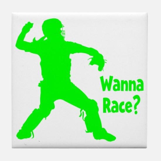 green2 Wanna Race on black Tile Coaster