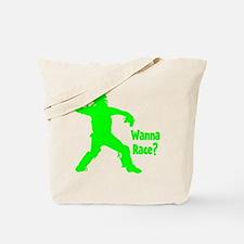 green2 Wanna Race on black Tote Bag