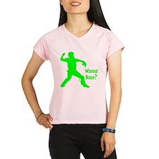 green2 Wanna Race on black Performance Dry T-Shirt