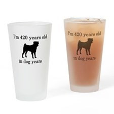 60 birthday dog years pug Drinking Glass
