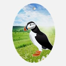 Atlantic Puffin Look forward to love Oval Ornament