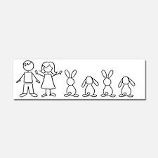 4 bunnies family sticker (2 lops Car Magnet 10 x 3