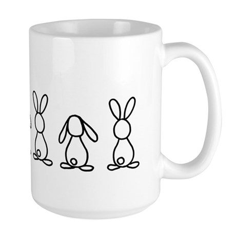 5 bunnies family sticker (crazy bunny l Large Mug