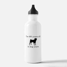 70 birthday dog years pug Water Bottle